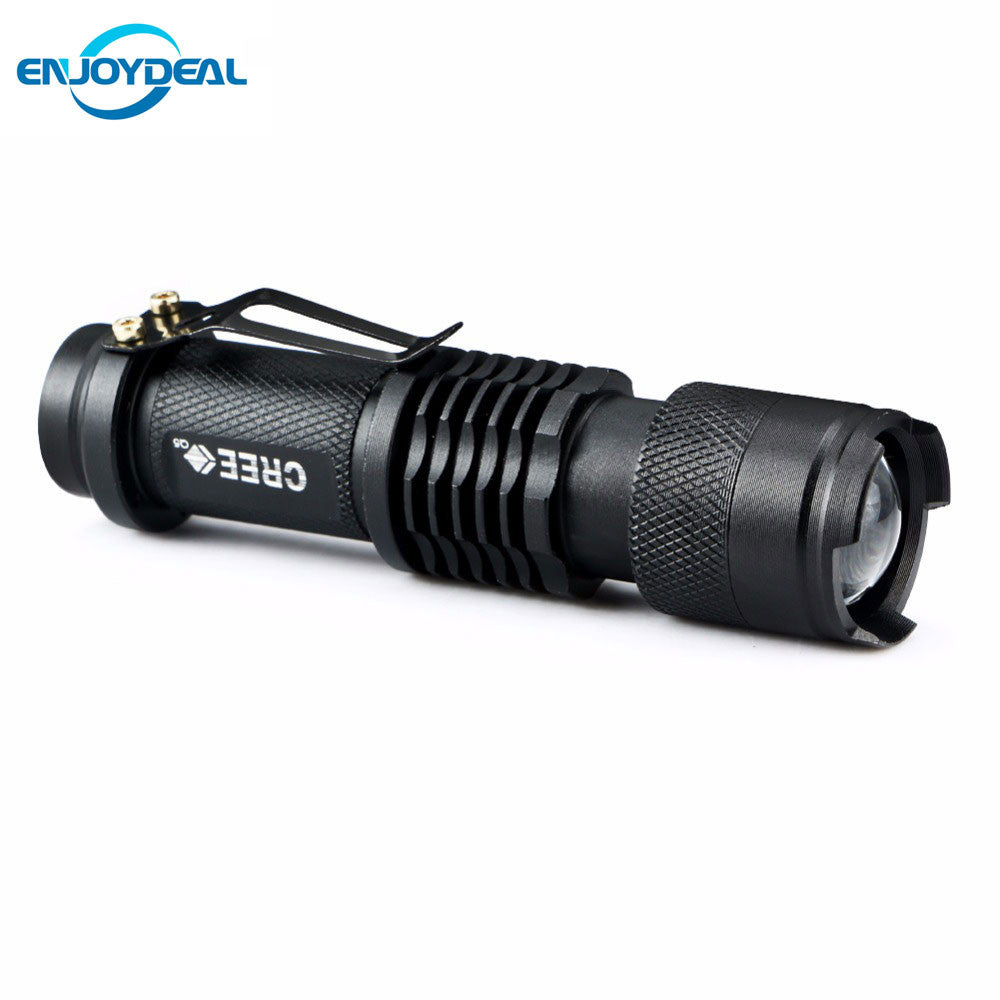 New Mini Flashlight 2000 Lumens CREE Q5 LED Torch AA/14500 Adjustable Zoom Focus Torch Lamp Penlight Black