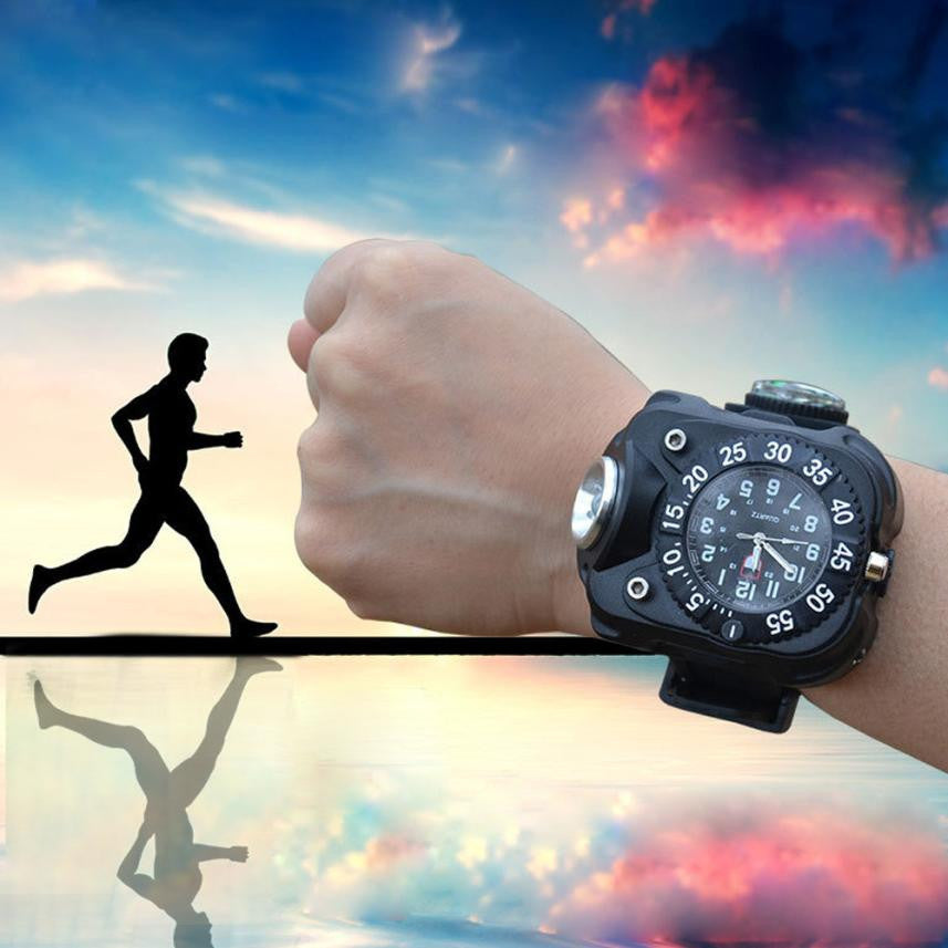 1PC Multi Tools Outdoor Waterproof LED Indicator Shows Rechargeable Watch With compass#