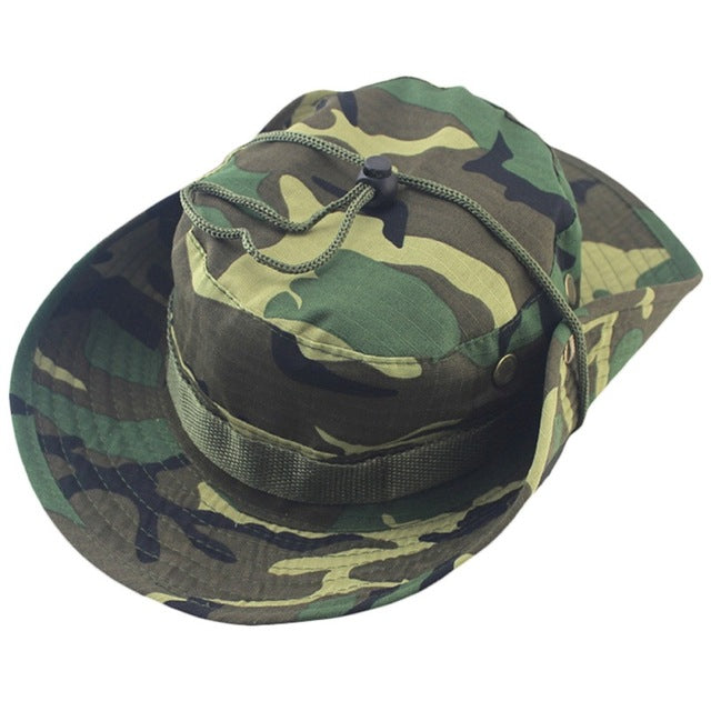 Military Camouflage Bucket Fishing Hat With Wide Brim