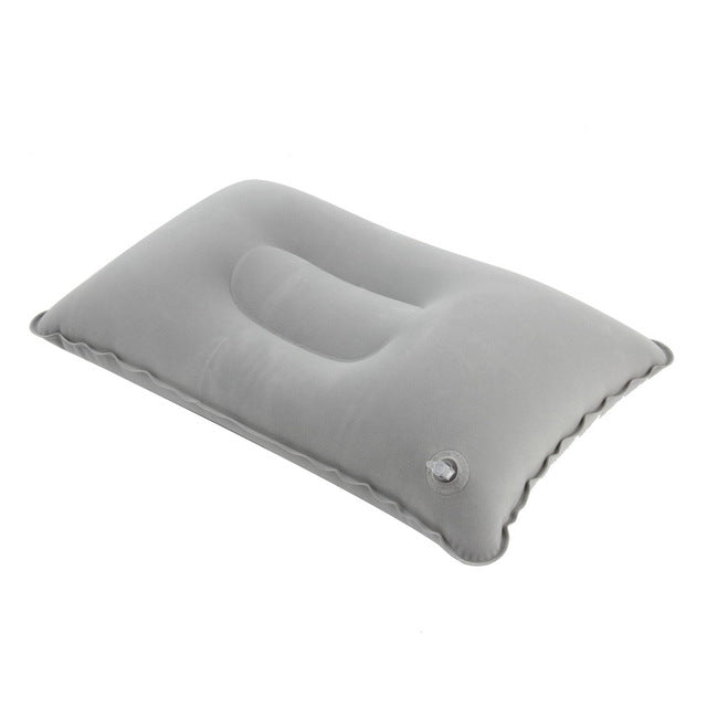 Outdoor Portable Foldable Folded Air Cushion Inflatable Pillow Double Sided Flocking Cushion Travel Plane Camping Picnic Pillows