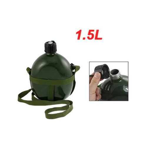 1.5L Aluminum Shoulder Strap Military Army Canteen