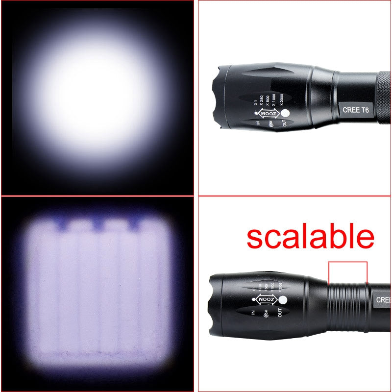 3000 Lumens Powerful led Flashlight Cree XM-L T6 LED Flashlight Zoomable Zoom Camping Torch Lamp 3Modes led Flashlight 18650