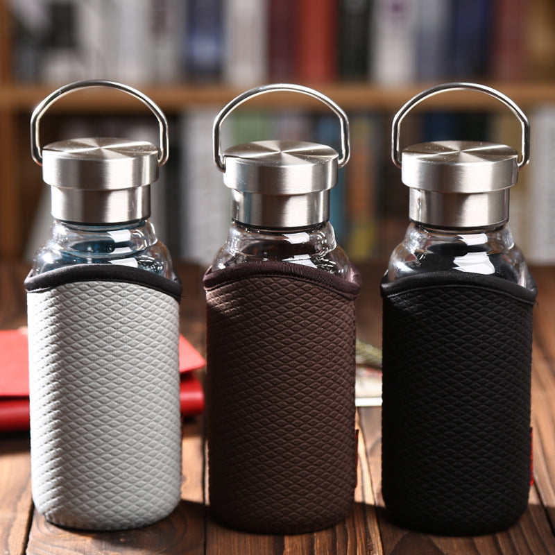 Glass Water Bottle with Stainless Steel Lid and Cover