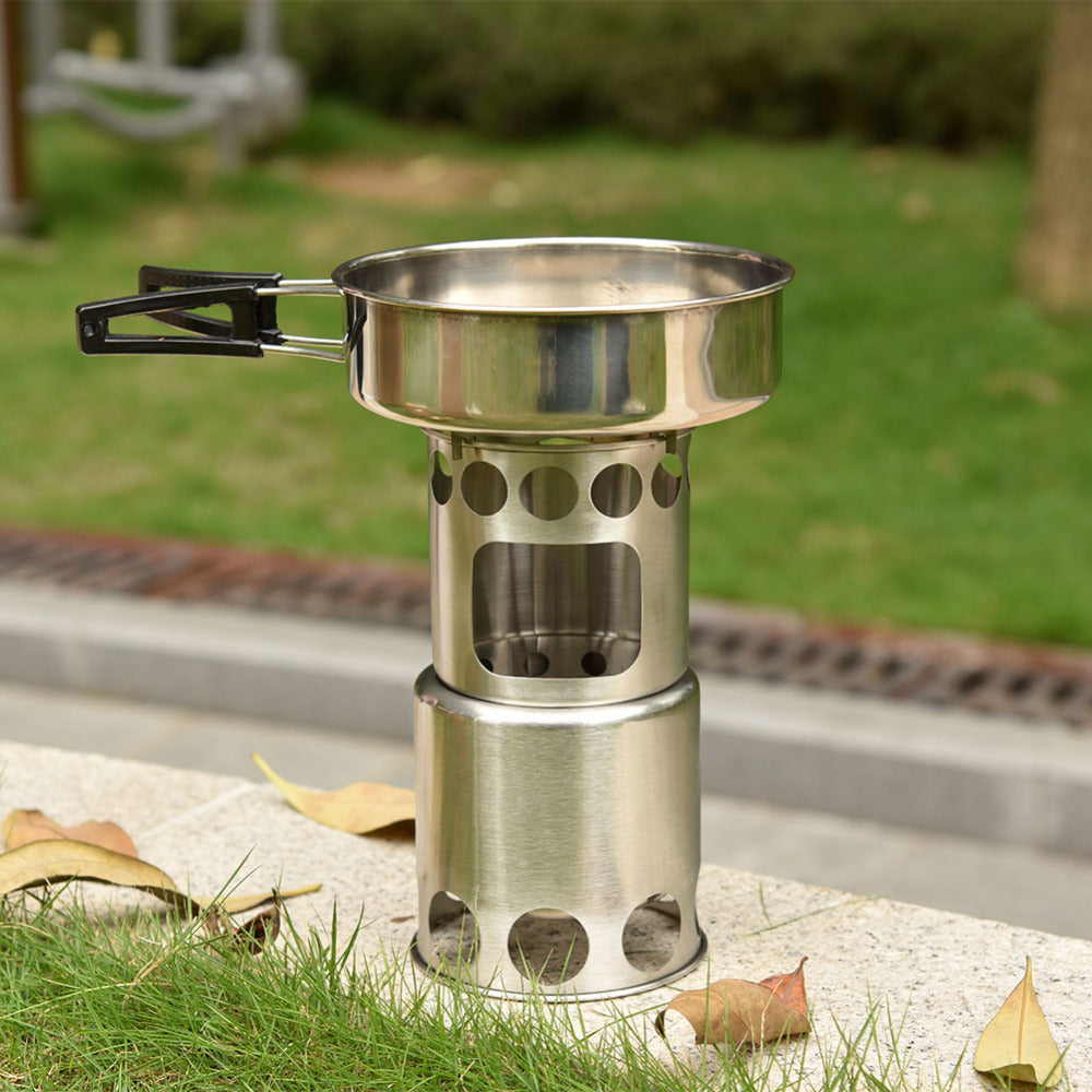 Stainless Steel Portable Firewood Stove Set