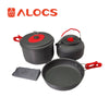 ALOCS Ultralight Non-Stick Aluminum Camping Cookware for 2-3 People
