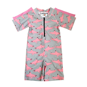 Uv suit Grey with pink shark