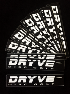 DRYVE DISC GOLF Sticker WHITE LOGO on BLACK