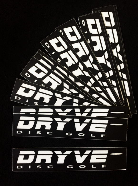 DRYVE DISC GOLF Sticker WHITE LOGO on BLACK 3 Pack