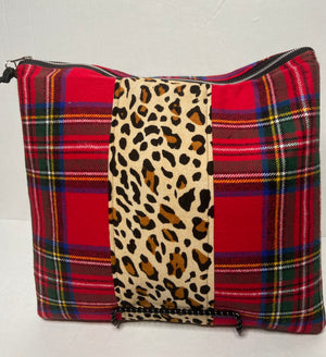 Plaid and Leopard Mix Clutch