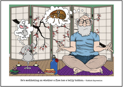 "Cartoon depicting the Yiddish quote, ""He's Meditating On Whether A Flea Has A Belly Button"""