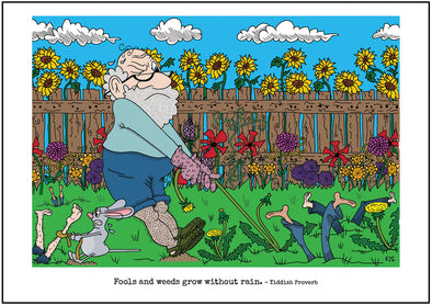 "Cartoon depicting the Yiddish quote, ""Fools And Weeds Grow Without Rain"""