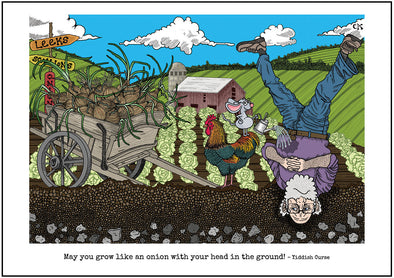 "Cartoon depicting the Yiddish quote, ""May You Grow Like An Onion With Your Head In The Ground!"""