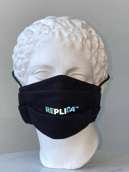 Black Reflective Logo Mask