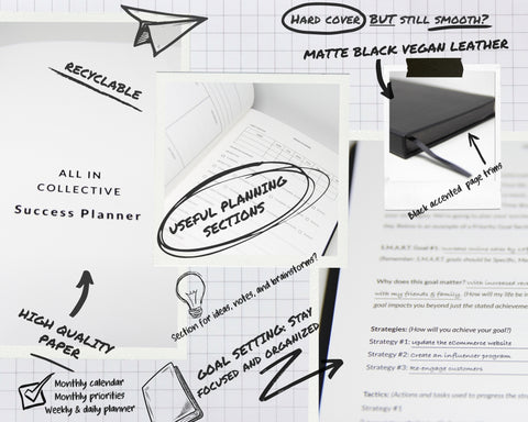 Page designer and sketches of the ALL IN COLLECTIVE planner