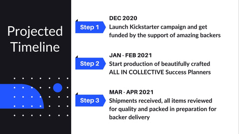 Project outline for steps found on the kickstarter campaign.