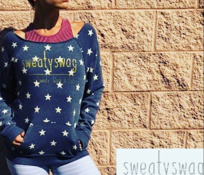 Off Shoulder  Star Sweatshirt