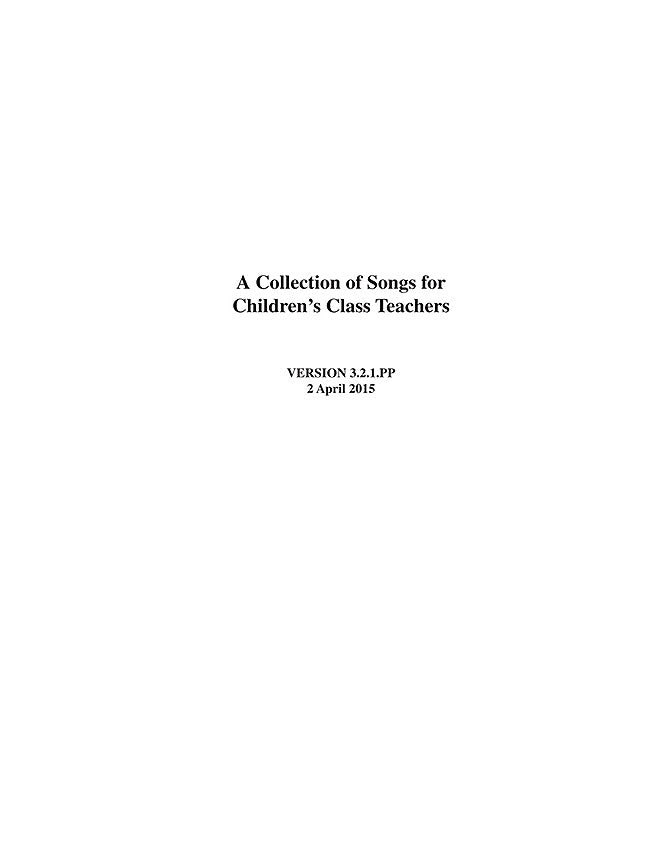 Songs for Children's Class Teachers