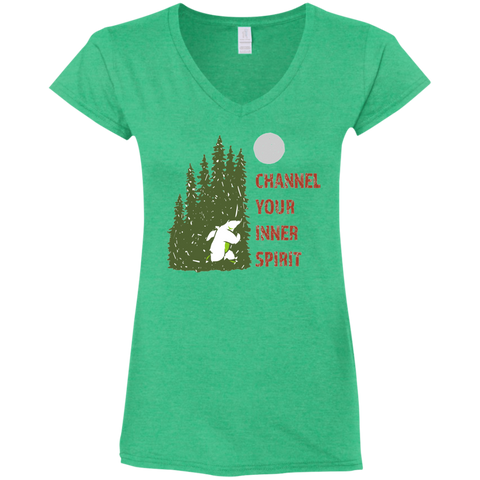 Bear - Channel Your Inner Spirit Ladies' Fitted Softstyle 4.5 oz V-Neck T-Shirt - Ultrakoala Trial, Hiking, Biking and Camping Gear