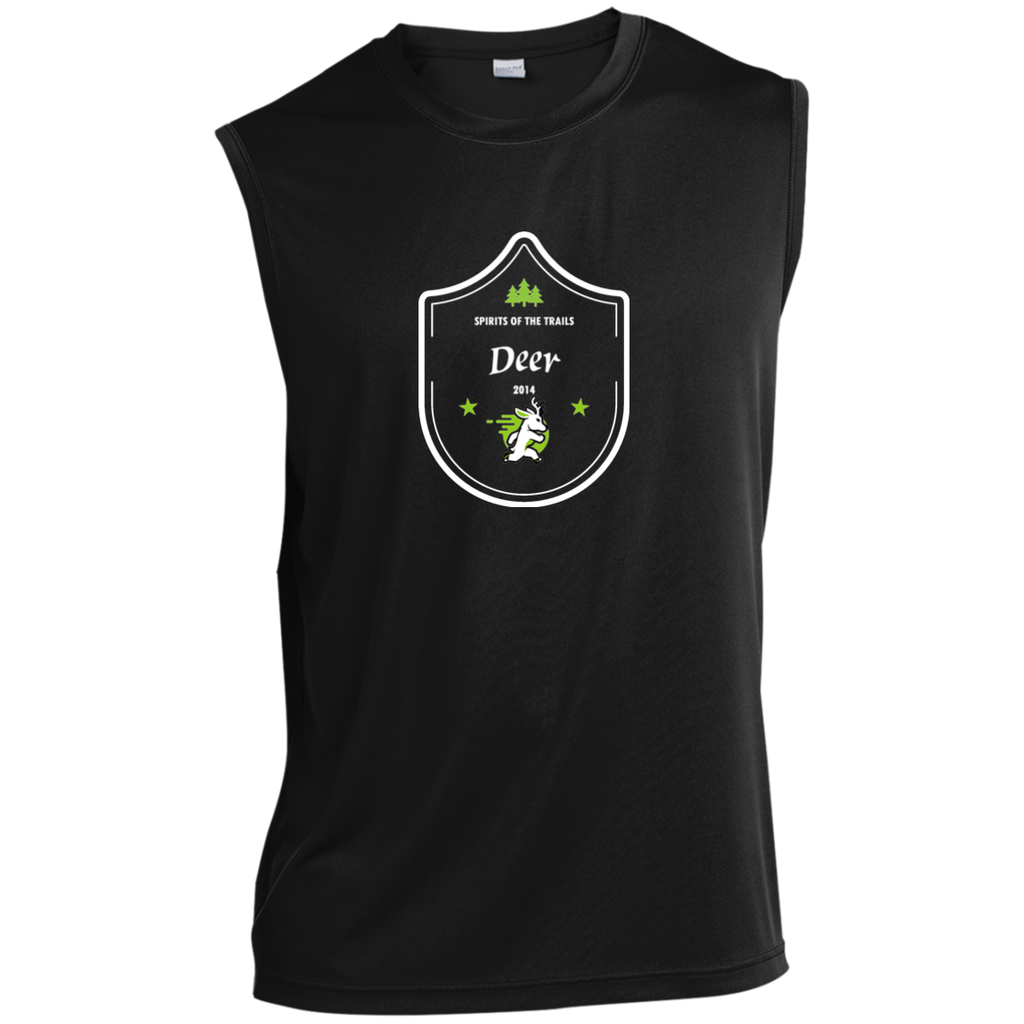 Deer  - Medallion Moisture Wicking Men's Sleeveless Performance T-Shirt - Ultrakoala Trial, Hiking, Biking and Camping Gear