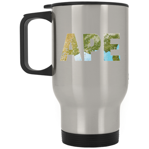 Ape - Silver Stainless 14oz Travel Mug - Ultrakoala Trial, Hiking, Biking and Camping Gear