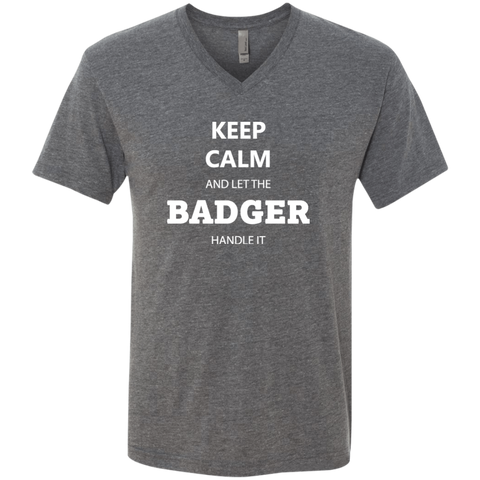 Keep Calm Badger - Men's Triblend V-Neck T-Shirt - Ultrakoala Trial, Hiking, Biking and Camping Gear