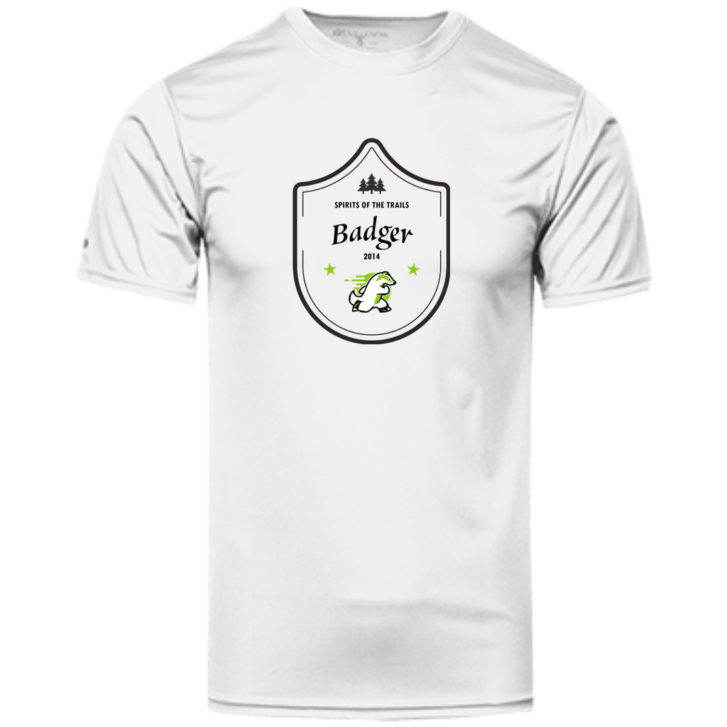 Badger Medallion - Men's 100% Dry-Excel™ Wicking Polyester T-Shirt - Ultrakoala Trial, Hiking, Biking and Camping Gear