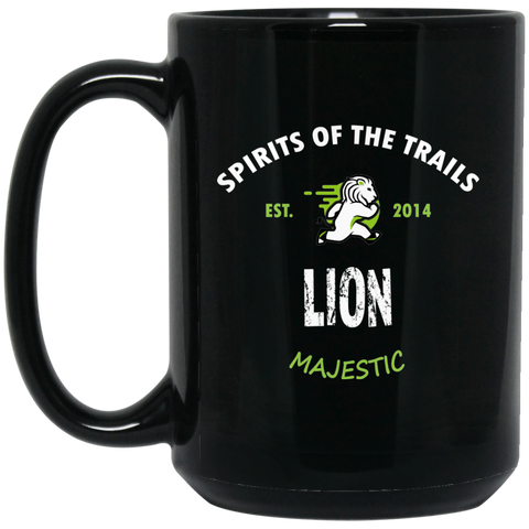Lion - Medallion15 oz. Black Mug - Ultrakoala Trial, Hiking, Biking and Camping Gear