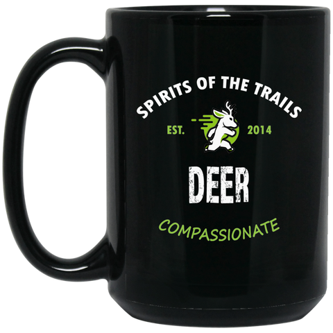 Deer - Medallion15 oz. Black Mug - Ultrakoala Trial, Hiking, Biking and Camping Gear