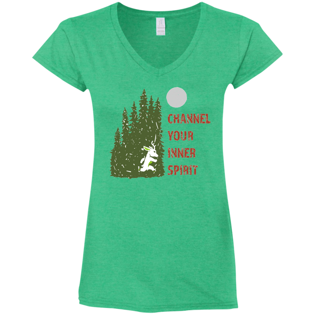 Deer - Channel Your Inner Spirit Ladies' Fitted Softstyle 4.5 oz V-Neck T-Shirt - Ultrakoala Trial, Hiking, Biking and Camping Gear