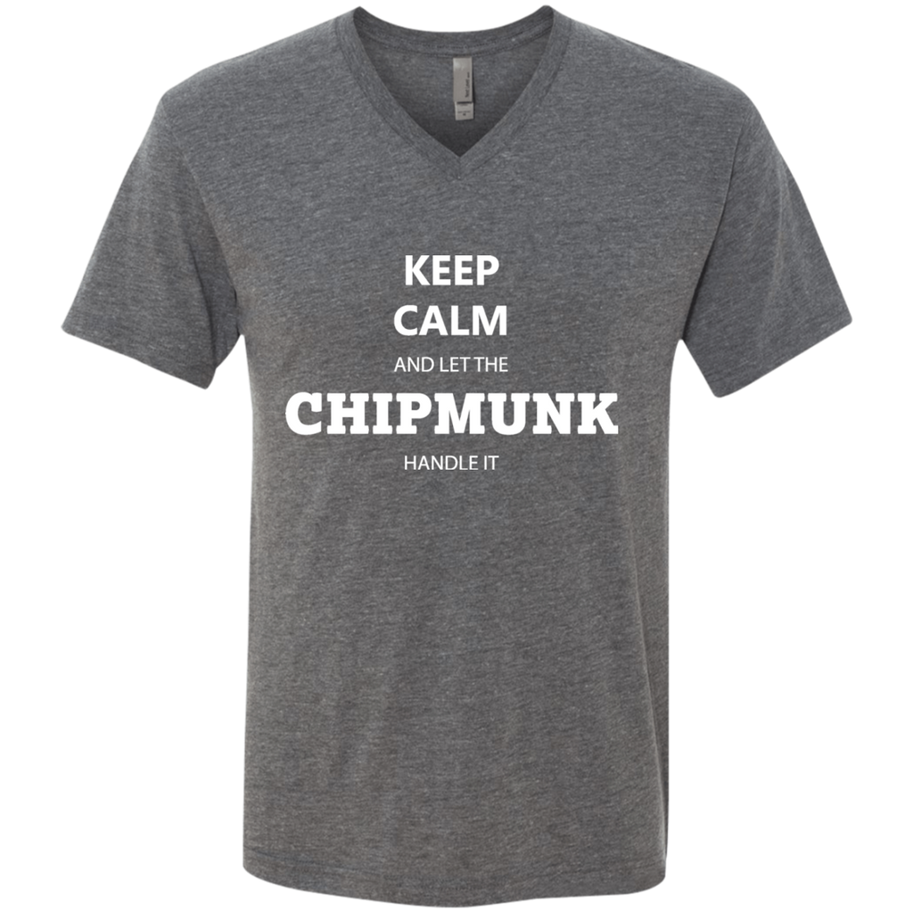 Keep Calm Chipmunk - Men's Triblend V-Neck T-Shirt - Ultrakoala Trial, Hiking, Biking and Camping Gear
