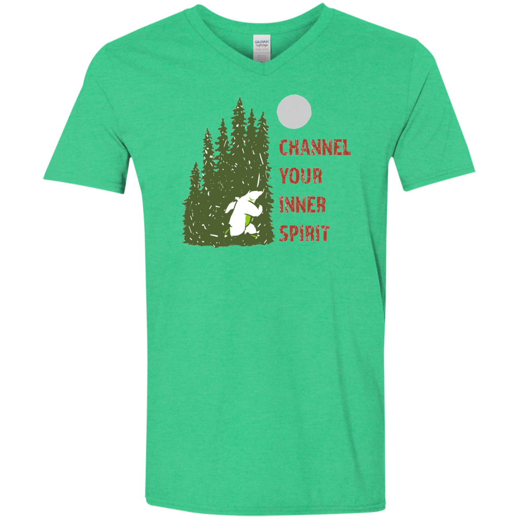 Bear - Channel Your Inner Spirit Men's Softstyle 4.5 oz V-Neck T-Shirt - Ultrakoala Trial, Hiking, Biking and Camping Gear
