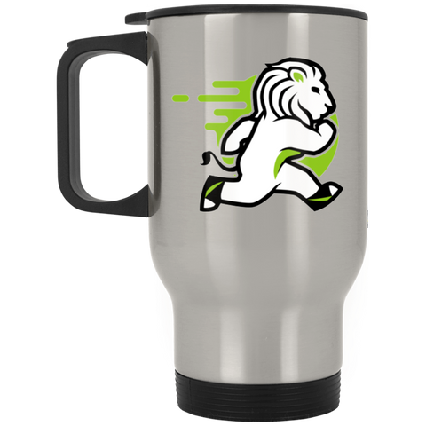Lion - Silver Stainless 14oz Travel Mug - Ultrakoala Trial, Hiking, Biking and Camping Gear