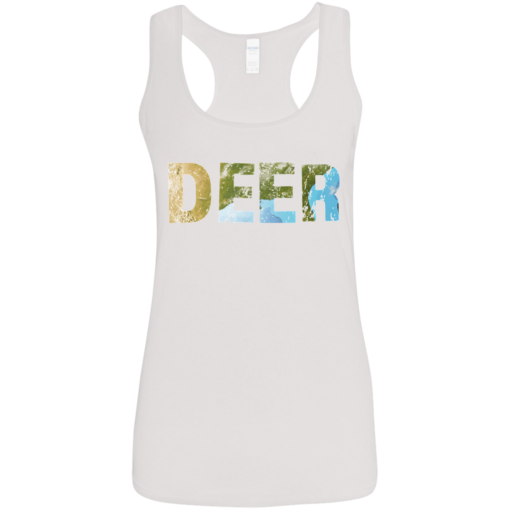 Deer - Ladies' Softstyle Racerback Tank - Ultrakoala Trial, Hiking, Biking and Camping Gear
