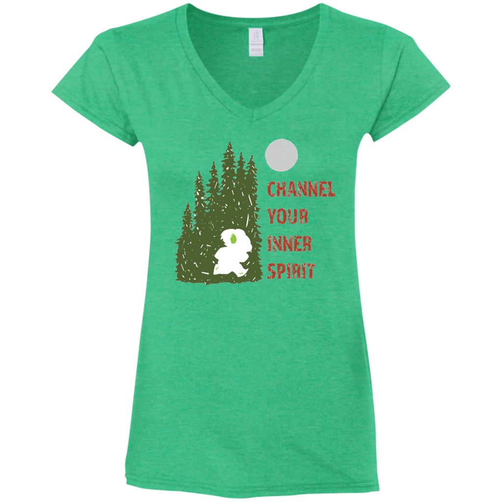 Koala - Channel Your Inner Spirit Ladies' Fitted Softstyle 4.5 oz V-Neck T-Shirt - Ultrakoala Trial, Hiking, Biking and Camping Gear