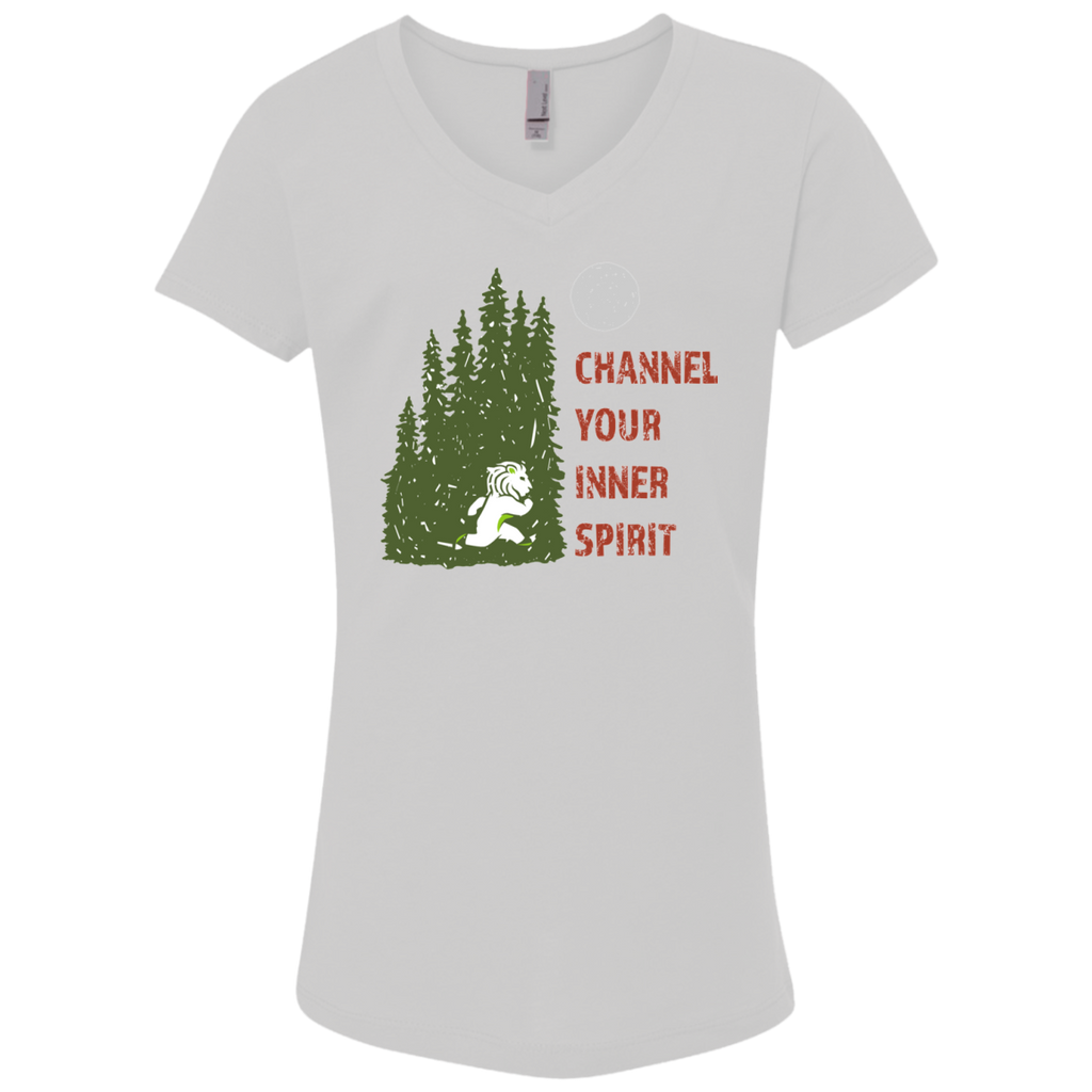 Lion - Channel Your Inner Spirit Girls' Princess V-Neck T-Shirt - Ultrakoala Trial, Hiking, Biking and Camping Gear