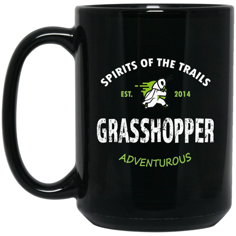 Grasshopper - Medallion15 oz. Black Mug - Ultrakoala Trial, Hiking, Biking and Camping Gear