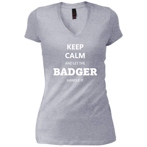 Keep Calm Badger - Ladies' Vintage Wash V-Neck T-Shirt - Ultrakoala Trial, Hiking, Biking and Camping Gear