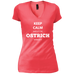 Keep Calm Ostrich - Ladies' Vintage Wash V-Neck T-Shirt - Ultrakoala Trial, Hiking, Biking and Camping Gear