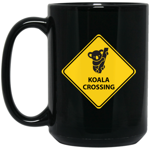 Koala Crossing 15 oz. Black Mug - Ultrakoala Trial, Hiking, Biking and Camping Gear