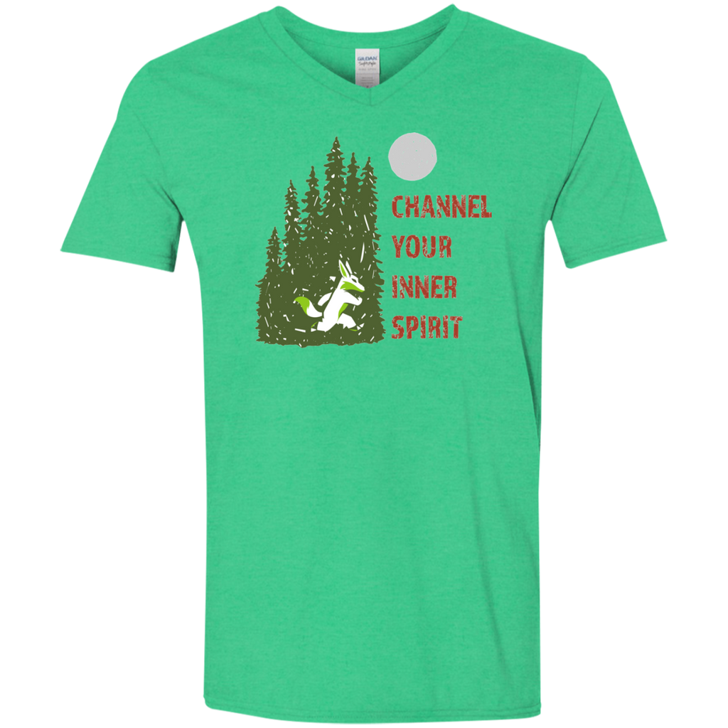 Fox - Channel Your Inner Spirit Men's Softstyle 4.5 oz V-Neck T-Shirt - Ultrakoala Trial, Hiking, Biking and Camping Gear