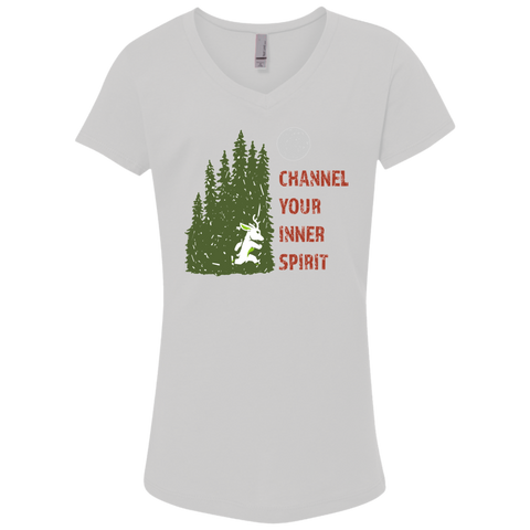 Deer - Channel Your Inner Spirit Girls' Princess V-Neck T-Shirt - Ultrakoala Trial, Hiking, Biking and Camping Gear