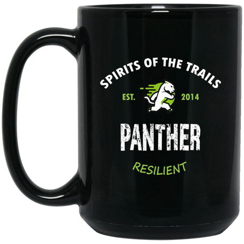 Panther - Medallion15 oz. Black Mug - Ultrakoala Trial, Hiking, Biking and Camping Gear
