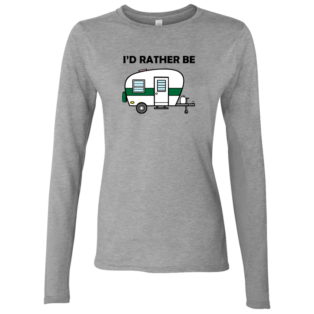 I'd Rather Be Camping - Ladies' Softstyle 4.5 oz. LS T-Shirt - Ultrakoala Trial, Hiking, Biking and Camping Gear