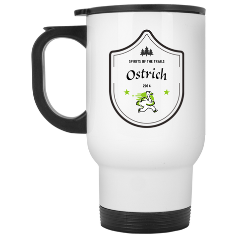 Ostrich - White 14oz Travel Mug - Ultrakoala Trial, Hiking, Biking and Camping Gear