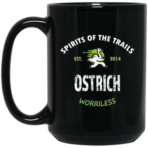 Ostrich - Medallion15 oz. Black Mug - Ultrakoala Trial, Hiking, Biking and Camping Gear