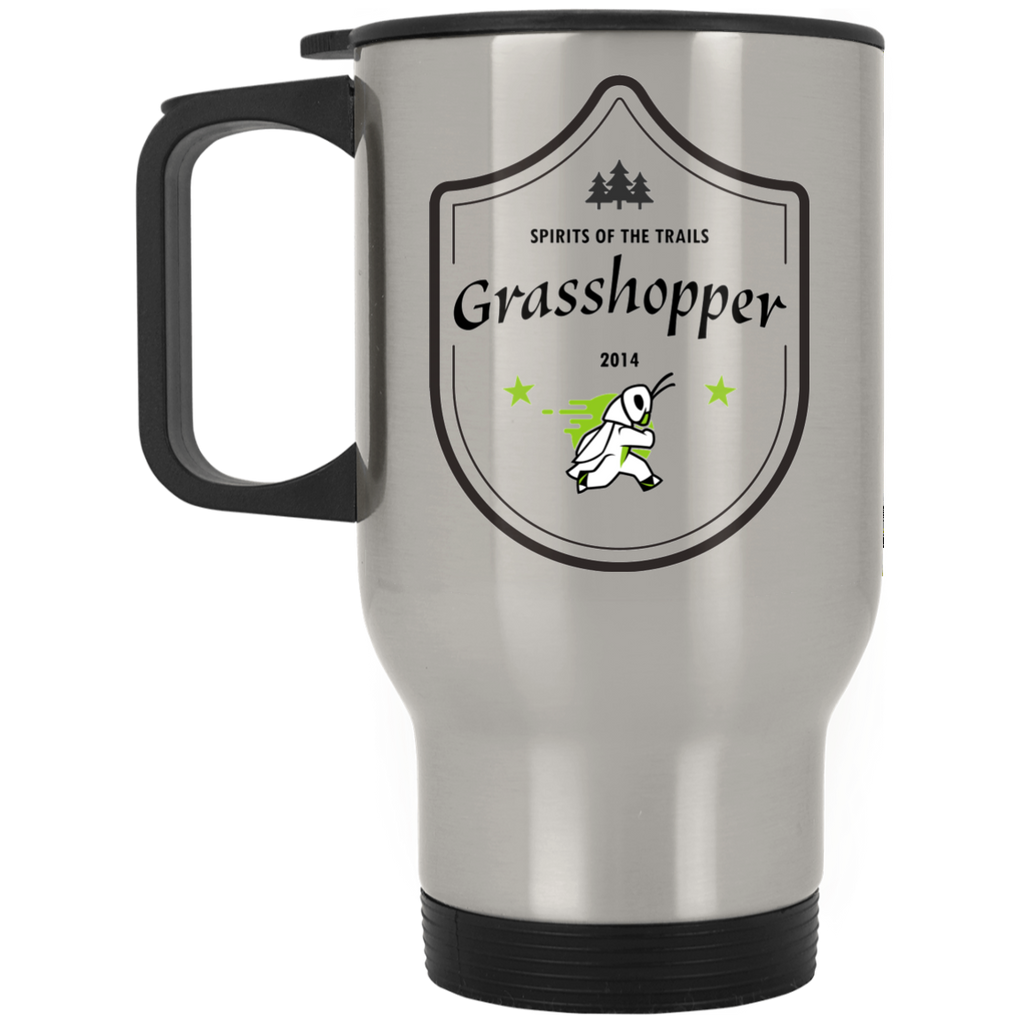 Grasshopper - Silver Stainless 14oz Travel Mug - Ultrakoala Trial, Hiking, Biking and Camping Gear