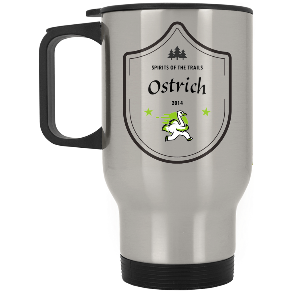 Ostrich - Silver Stainless 14oz Travel Mug - Ultrakoala Trial, Hiking, Biking and Camping Gear