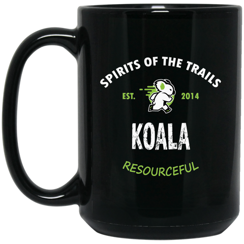Koala - Medallion15 oz. Black Mug - Ultrakoala Trial, Hiking, Biking and Camping Gear