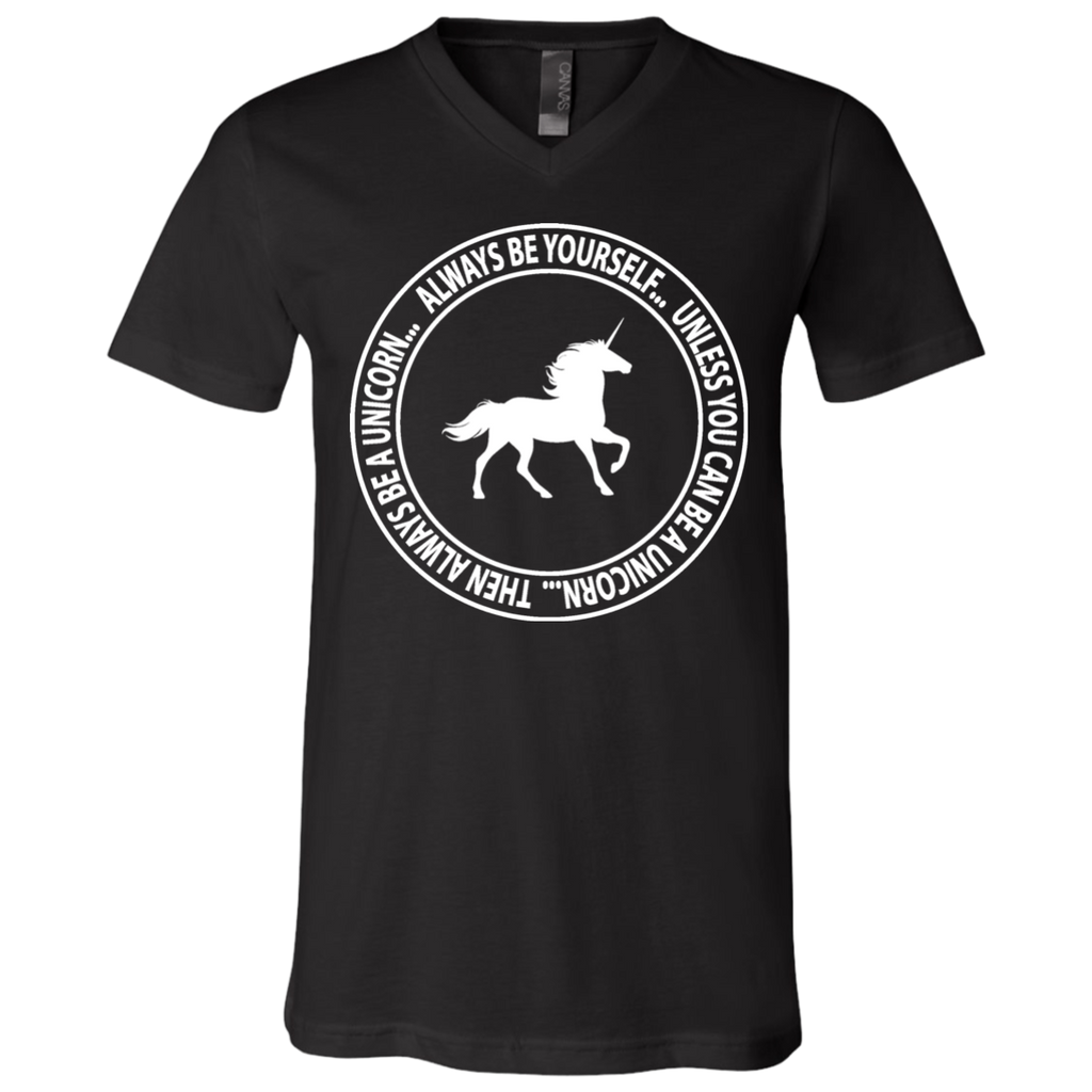 Be A Unicorn Unisex Jersey SS V-Neck T-Shirt - Ultrakoala Trial, Hiking, Biking and Camping Gear