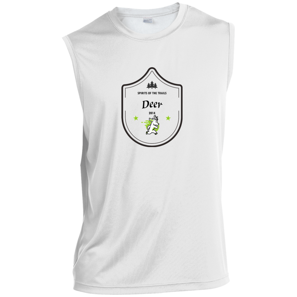 Deer Medallion - Sleeveless Moisture Wicking Performance T-Shirt - Ultrakoala Trial, Hiking, Biking and Camping Gear